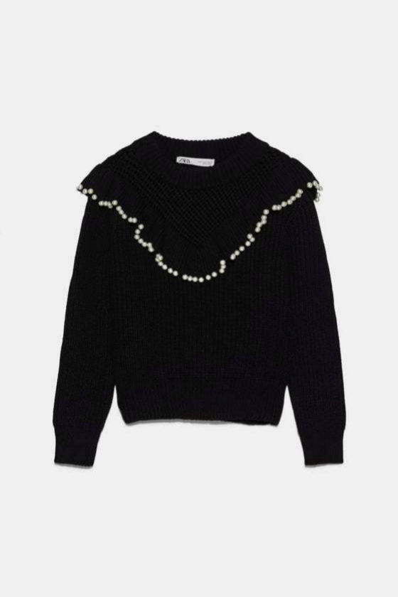 Jersey de lana con perlas bordadas de Zara