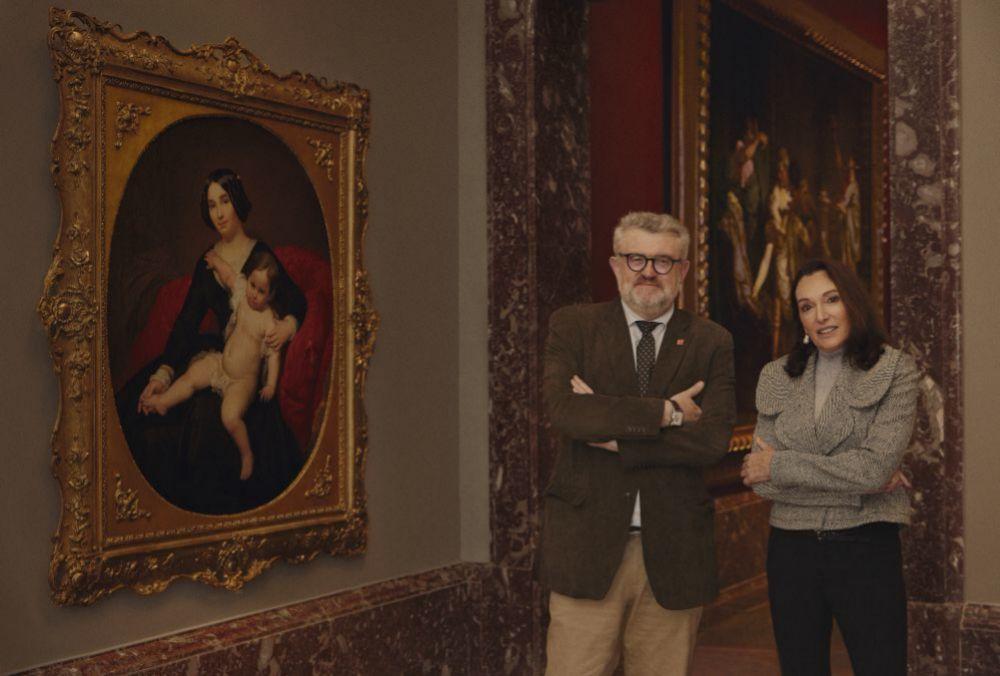 Miguel Falomir, director del Museo del Prado, con la artista Cristina Iglesias