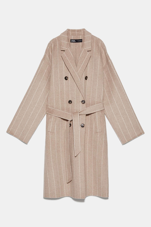 Abrigo de lana de ratas con cinturón de Zara