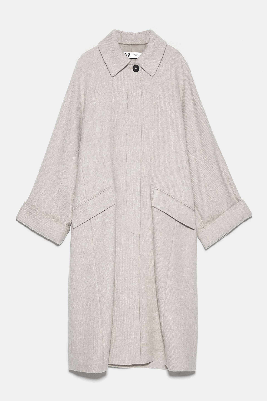 Abrigo de corte masculino de algodón y lana de Zara