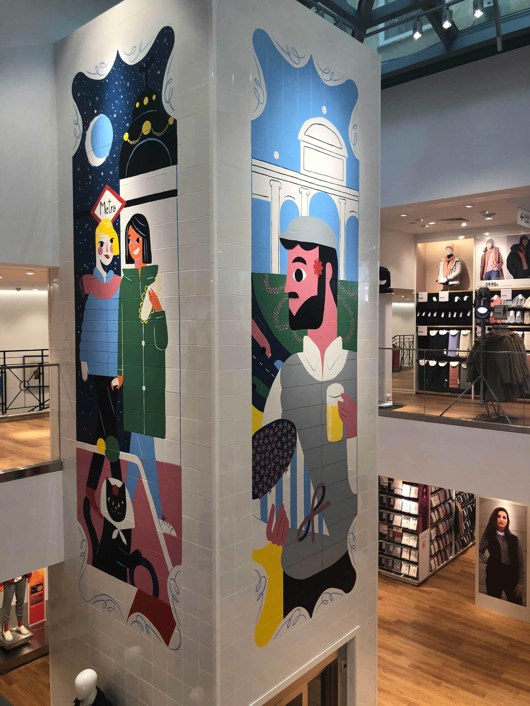 Las ilustraciones de la tienda de Madrid.