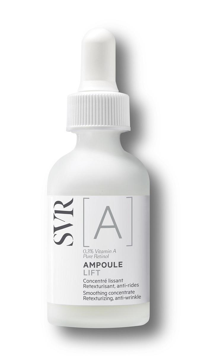 Sérum Ampoule [A] LIFT  de SVR (39,90 euros), con 0,3% de retinol puro para un alisado exprés de la piel, y vitamina A para una máxima eficacia y tolerancia controlada.