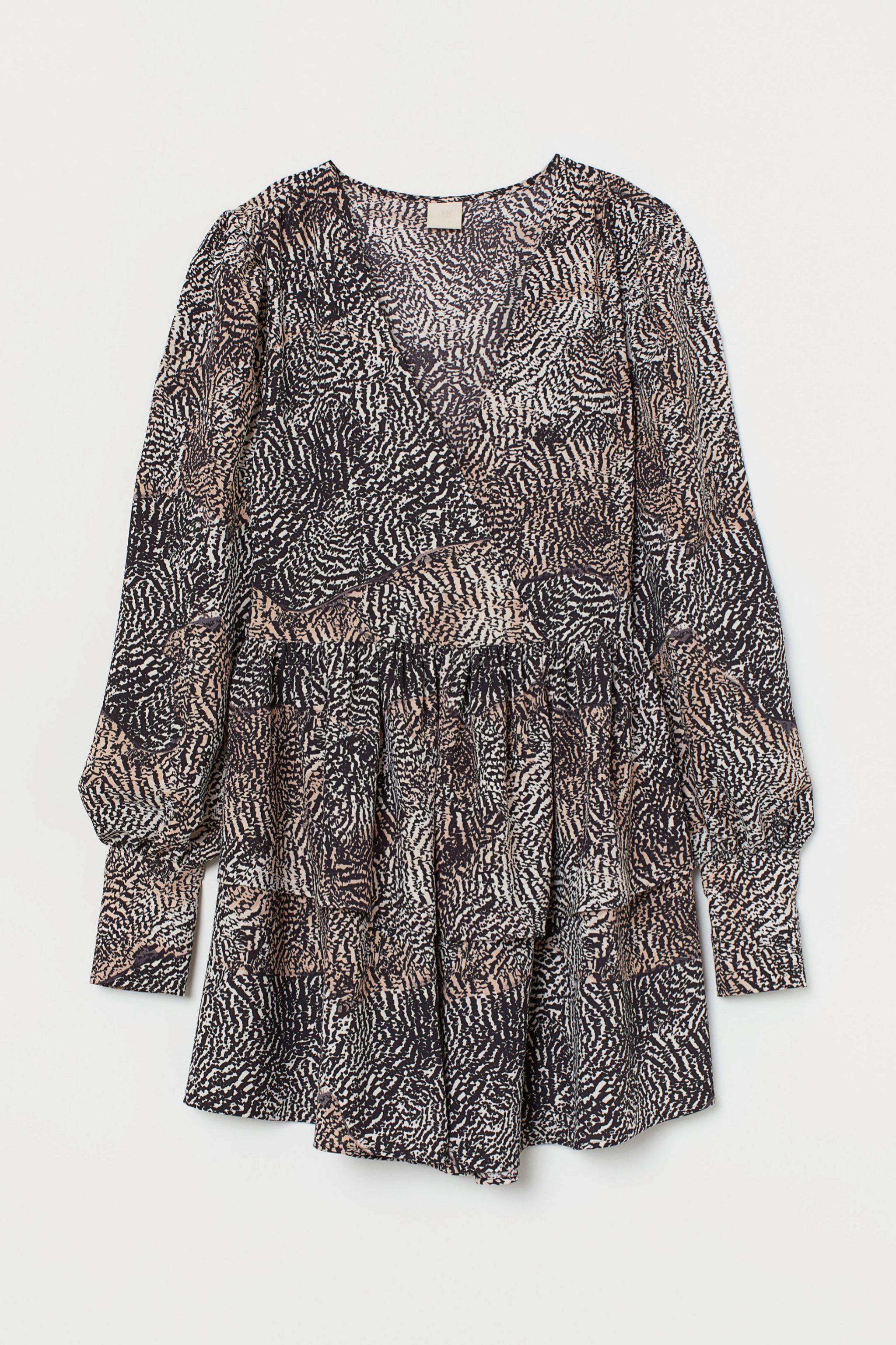 Vestido con mangas abullonadas de animal print de H&M