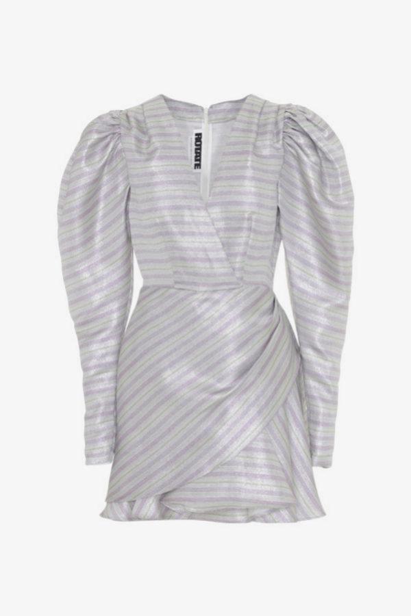 Vestido con hombreras con volumen metálico de Rotate by Birger...