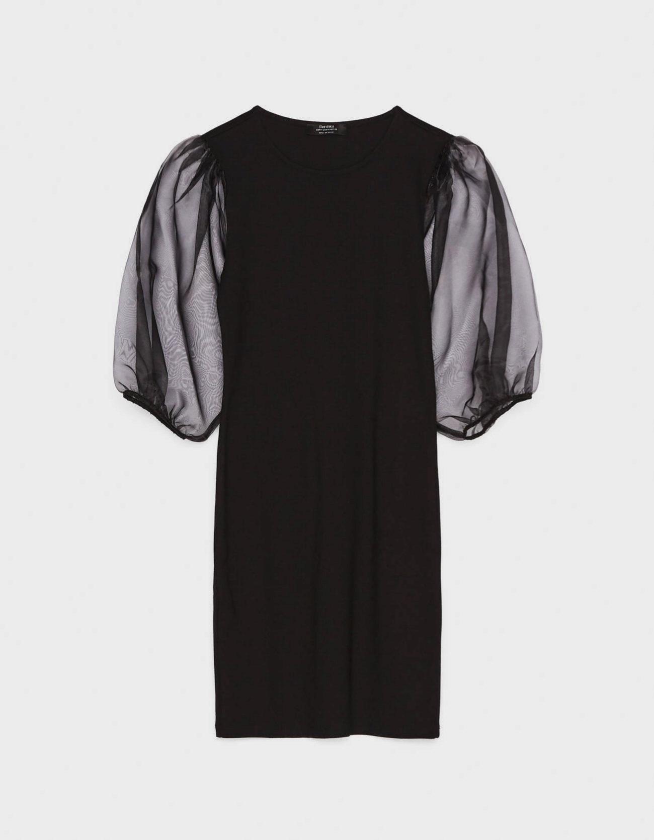 Vestido con mangas de organza y volumen de Bershka