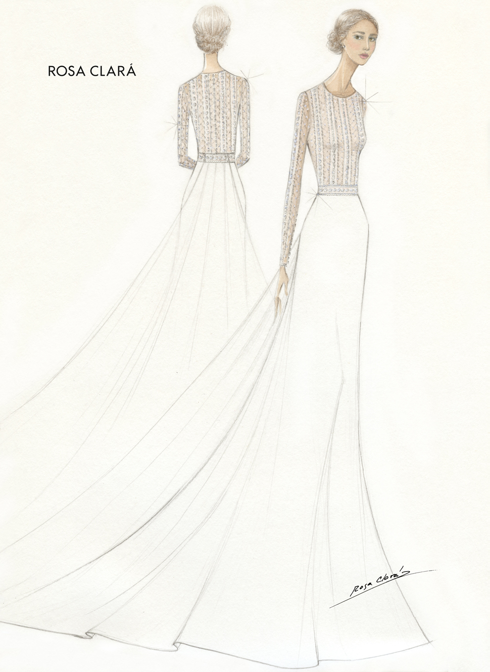 Boceto del vestido de novia de Xisca Perelló en su boda con el...