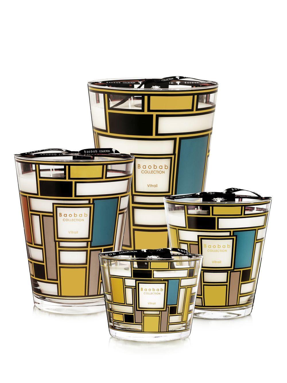 Velas perfumadas de Baobab Collection inspiradas en los diseños geométricos de Piet Mondrian. Entre 89 y 525 euros.