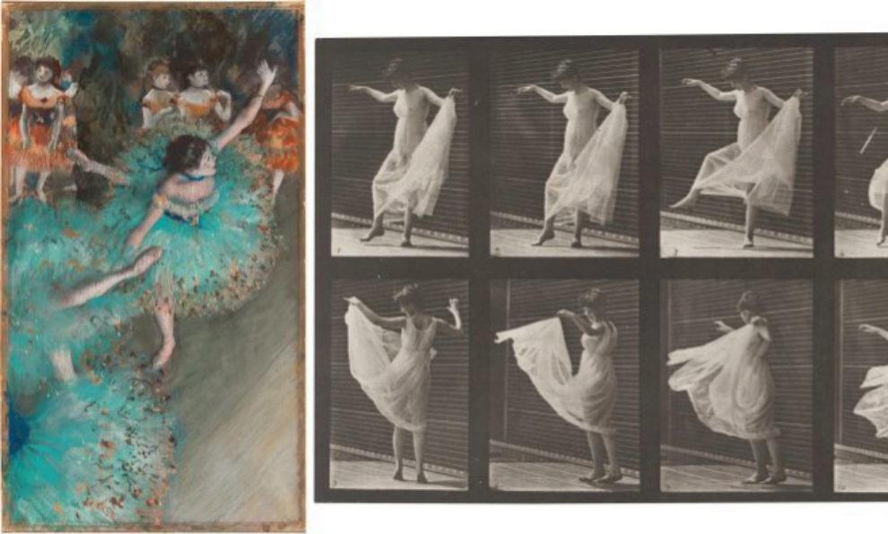 Bailarina basculando, de Degas; Mujer bailando, de Muybridge