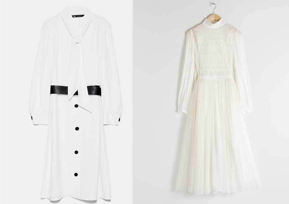 A la izquierda, vestido de Zara (39,95 euros), a la derecha, vestido...