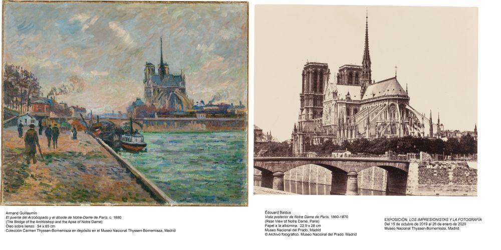 El puente del arzobispado y el ábside de Notre-Dame, de Armand Guillaumin (1880); Vista posterior de Notre-Dame (1860-70), de Édouard Baldus
