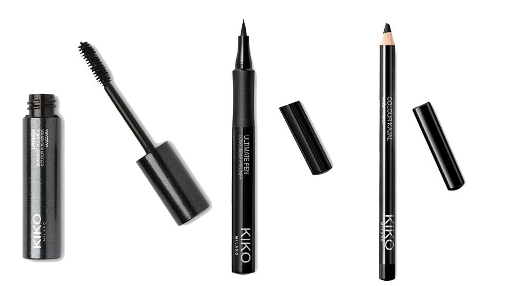 La máscara Darkar, el eyeliner Ultimate Pen y el lápiz color Kajal de Kiko Milano son las herramientas perfectas para el look de gata.