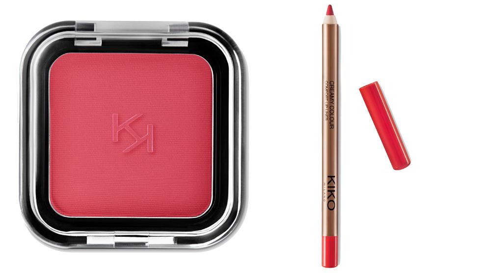 La sombra Smart Colour Eyeshadow 14 y el lápiz de labios Creamy Colour Comfort Lip Liner de Kiko Milano.