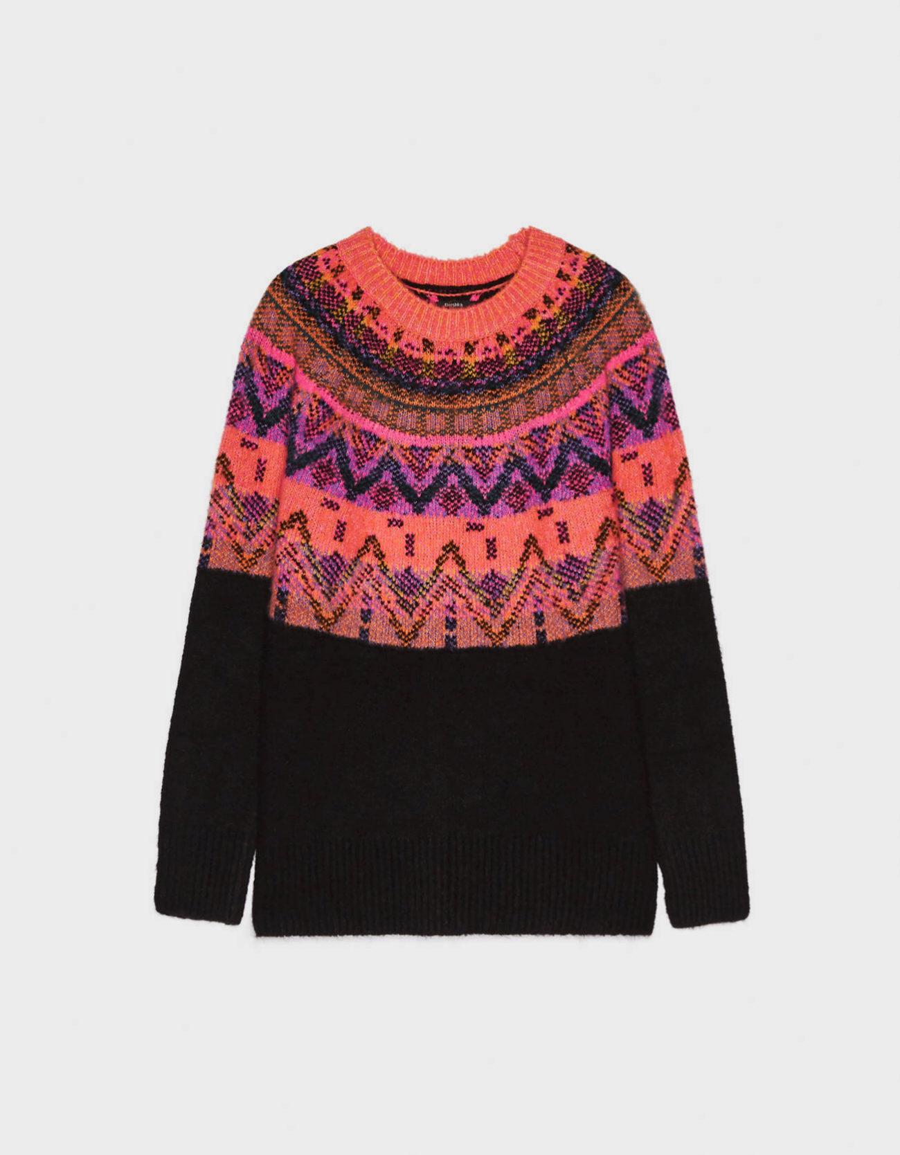 Jersey de lana de jacquard de Bershka
