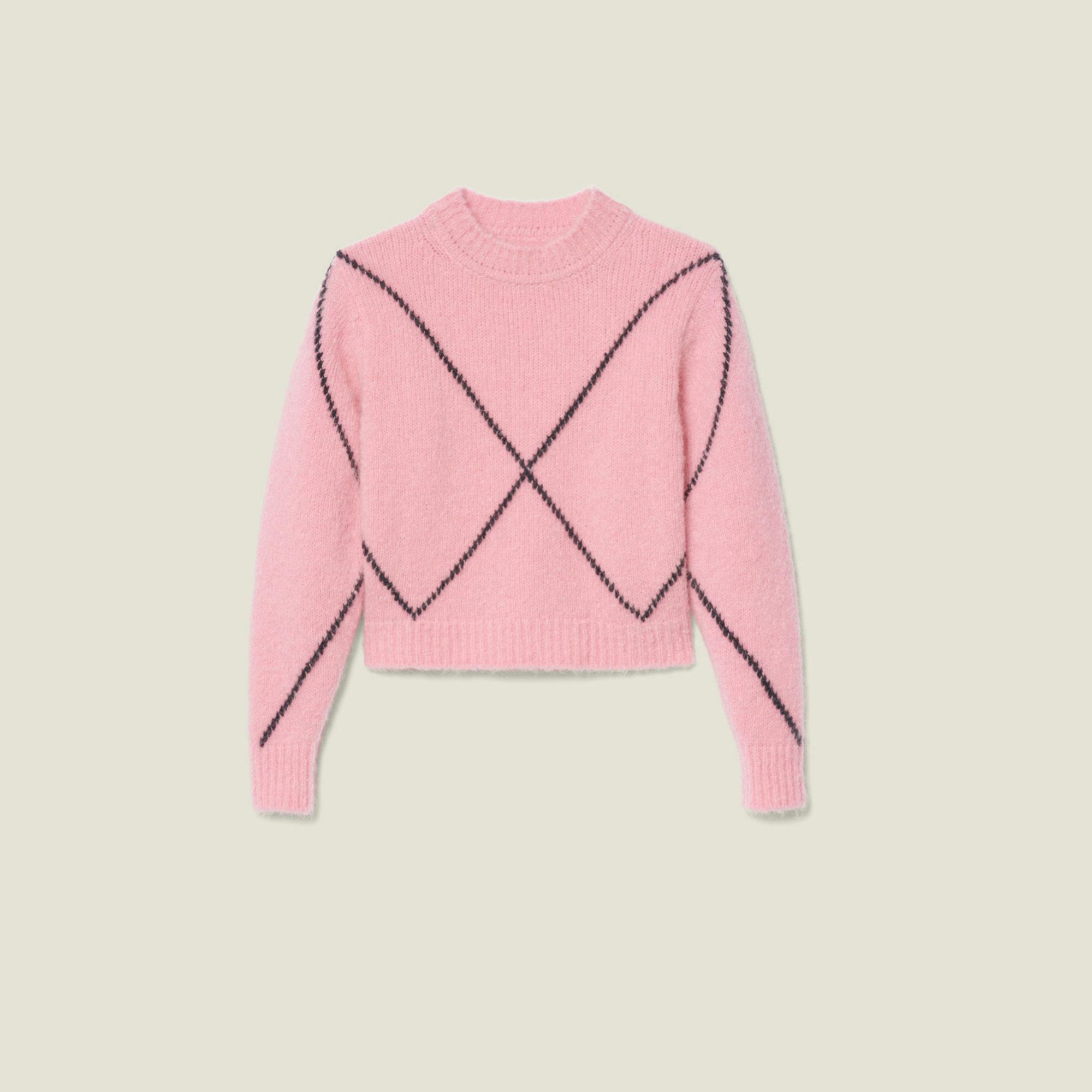 Jersey rosa con detalles geométricos en negro de Sandro