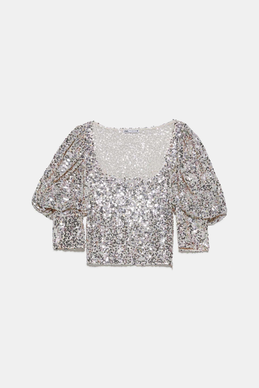 Cropped top con mangas abullonadas de Zara