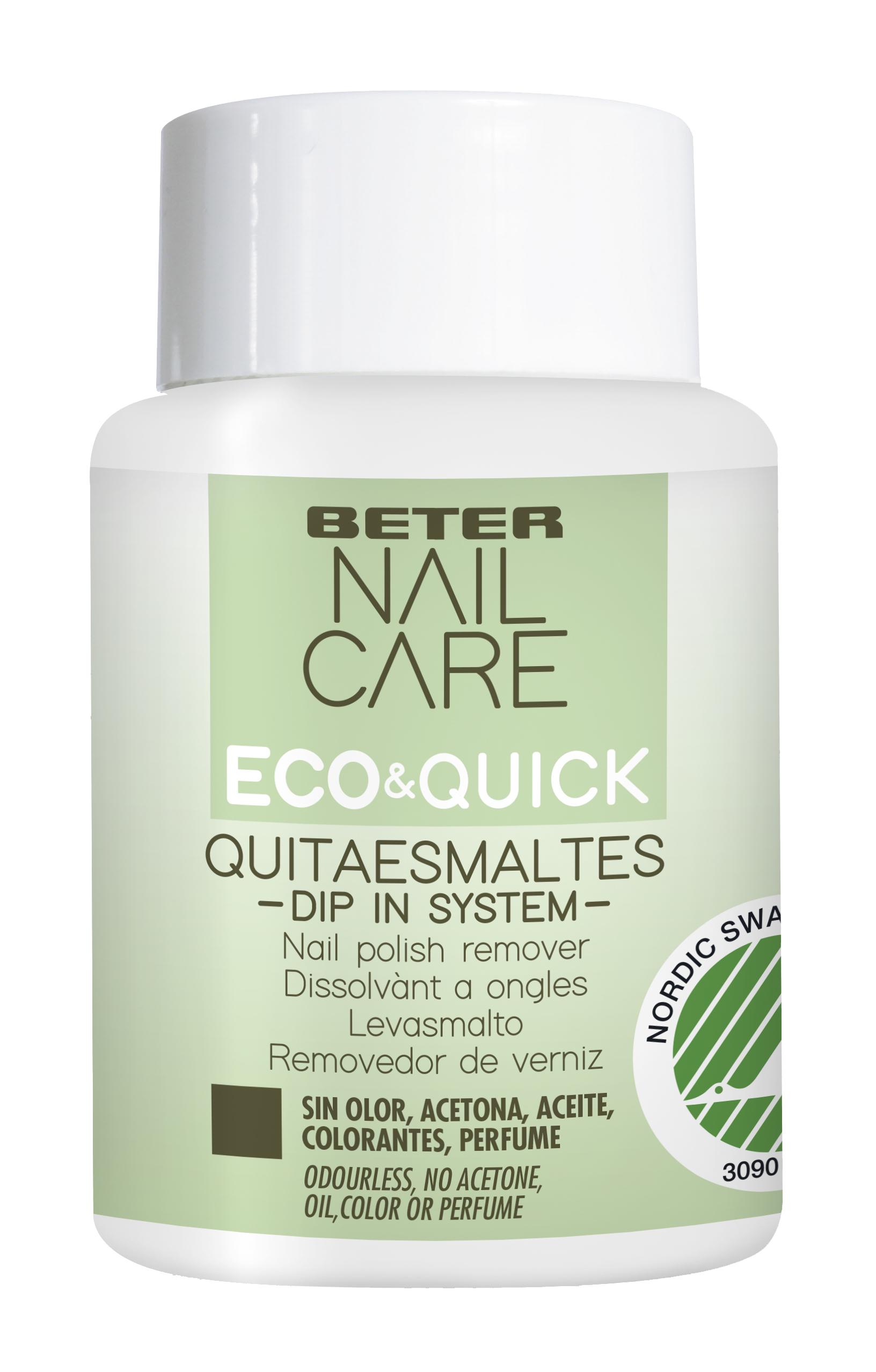 Quitaesmaltes Eco-Quick Dip In System, de Beter (8,95 euros). Sin acetona, aceites, colorantes o perfumes.