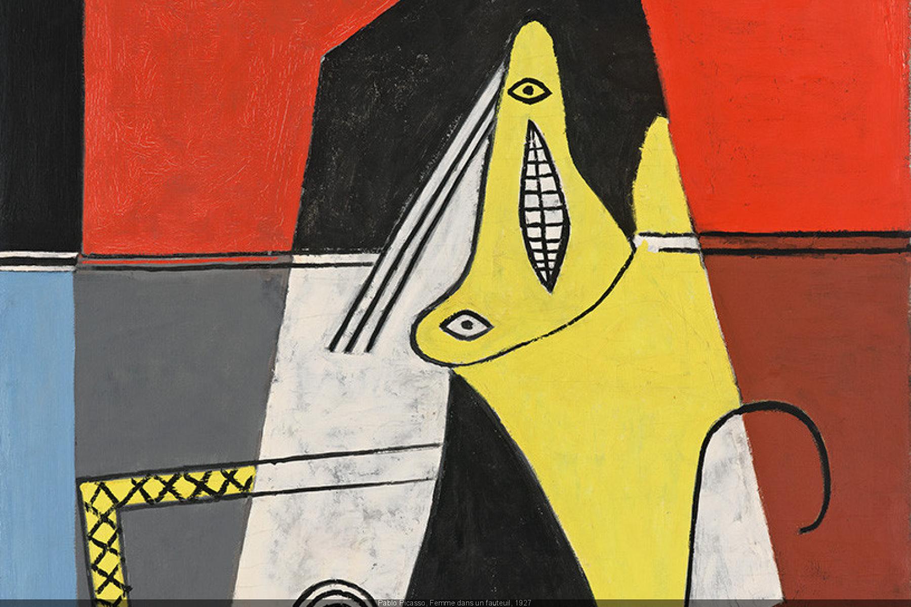 """""""Mujer en un sofá"""", el cuadro de Pablo Picasso que protagoniza el cartel de la exposición """"Picasso. Cuadros Mágicos""""."""