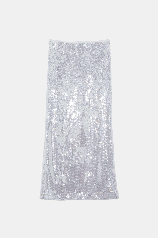 Falda tubo de lentejuelas de Zara (49,95¤)