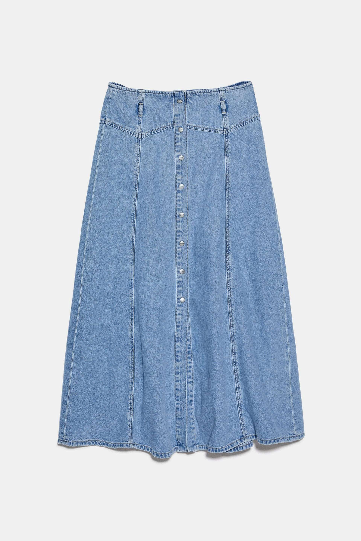 Falda denim midi de Zara