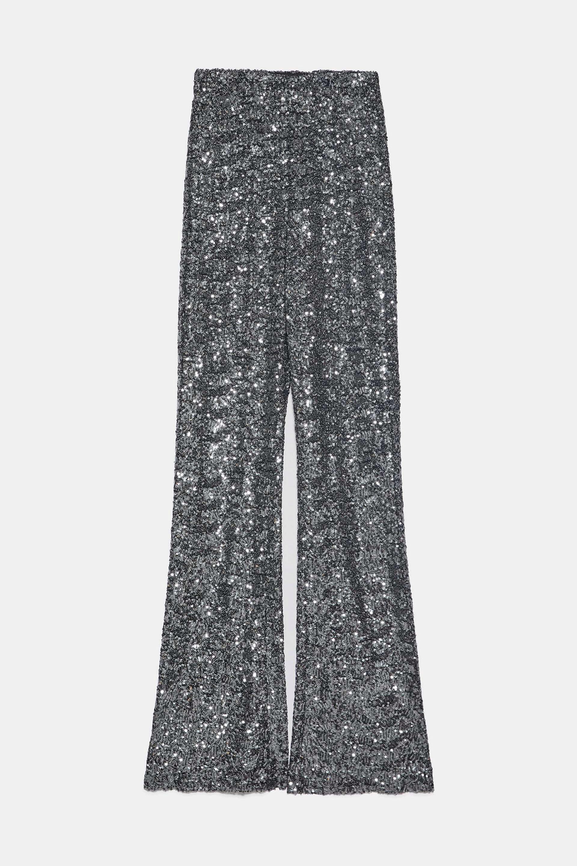 Pantalones flare de lentejuelas de Zara