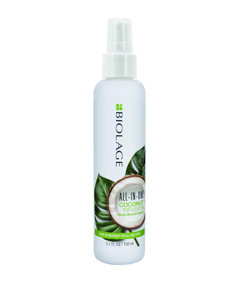 Spray para el cabello Biolage All In One, ayuda a desenredar, a evitar la rotura del pelo y las puntas abiertas.
