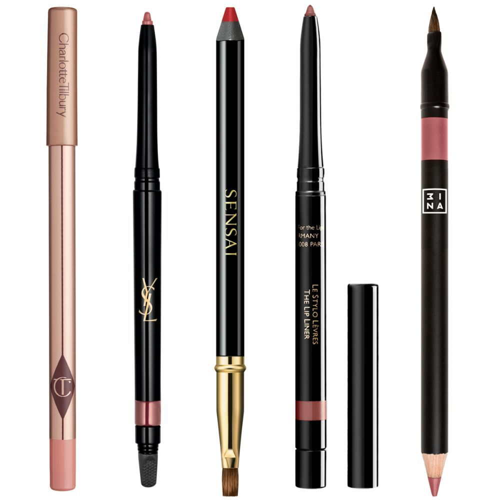 Lip Cheat Pillow Talk, de Charlotte Tilbury; Dessin Des Levres Lip Liner Pencil Le Nu, YSL; Lip Pencil Actress Red 01, Sensai; Stylo Lèvres 44, Guerlain; The Lip Pencil with applicator 503, de 3INA.
