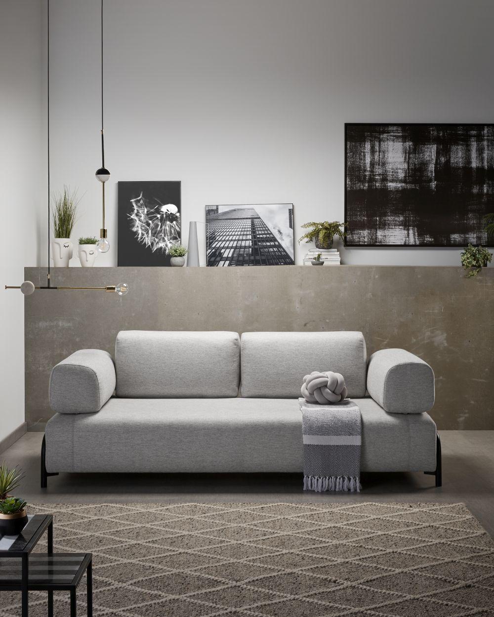 Sofá modular Compo y alfombra Lilya de Kave Home