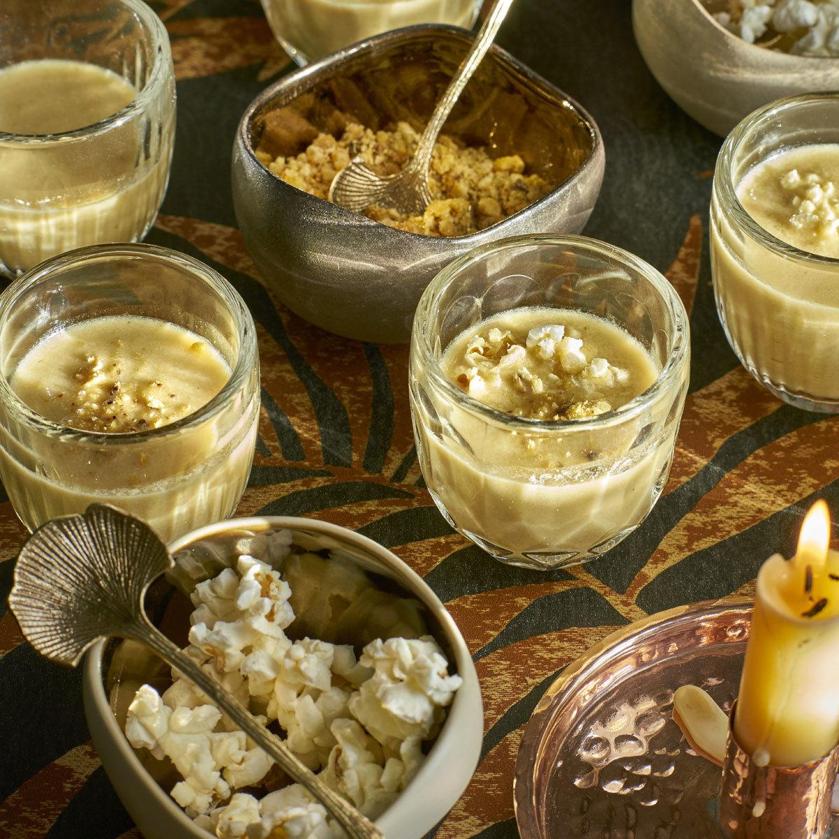 Crema de maíz en tres texturas