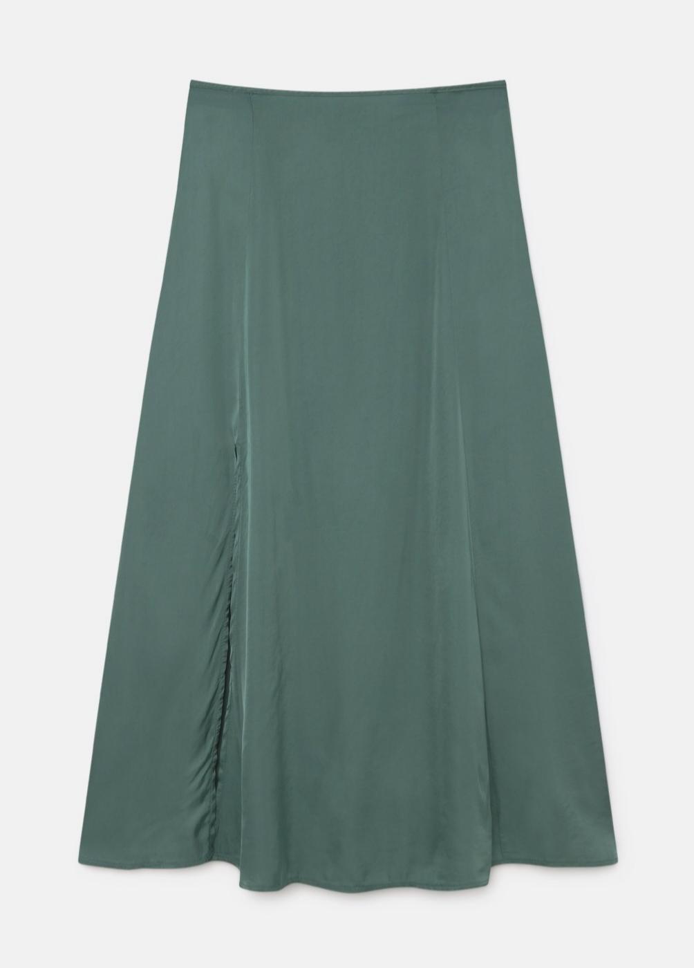 Falda satinada en color verde de Brownie