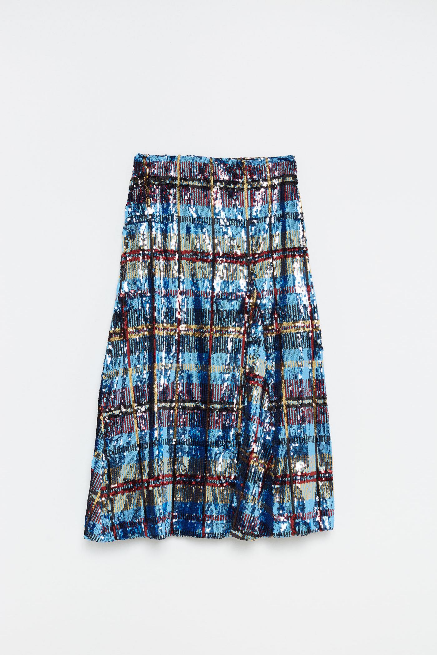 Falda de lentejuelas de corte midi de Sfera