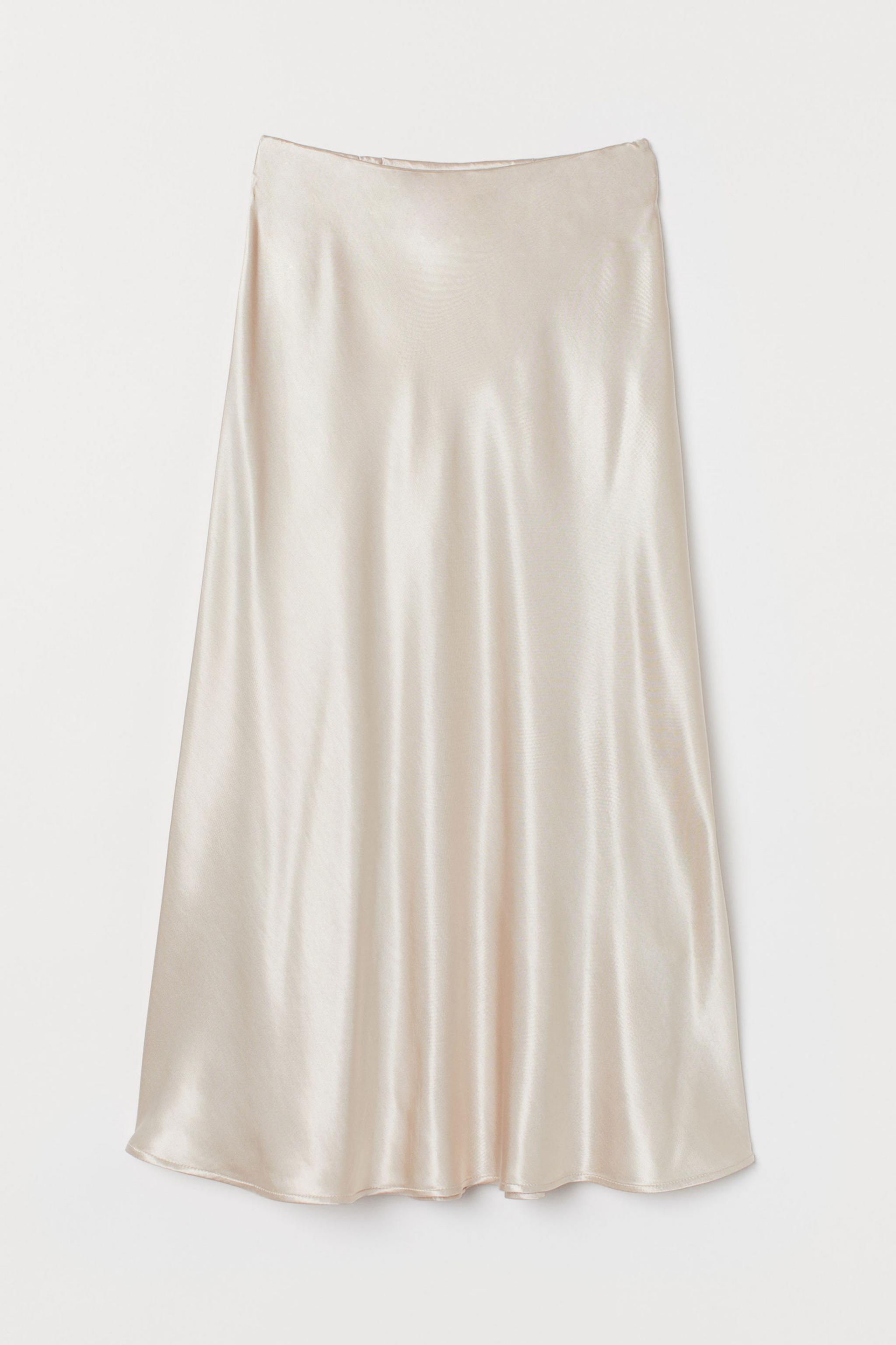 Falda satinada en blanco de H&M