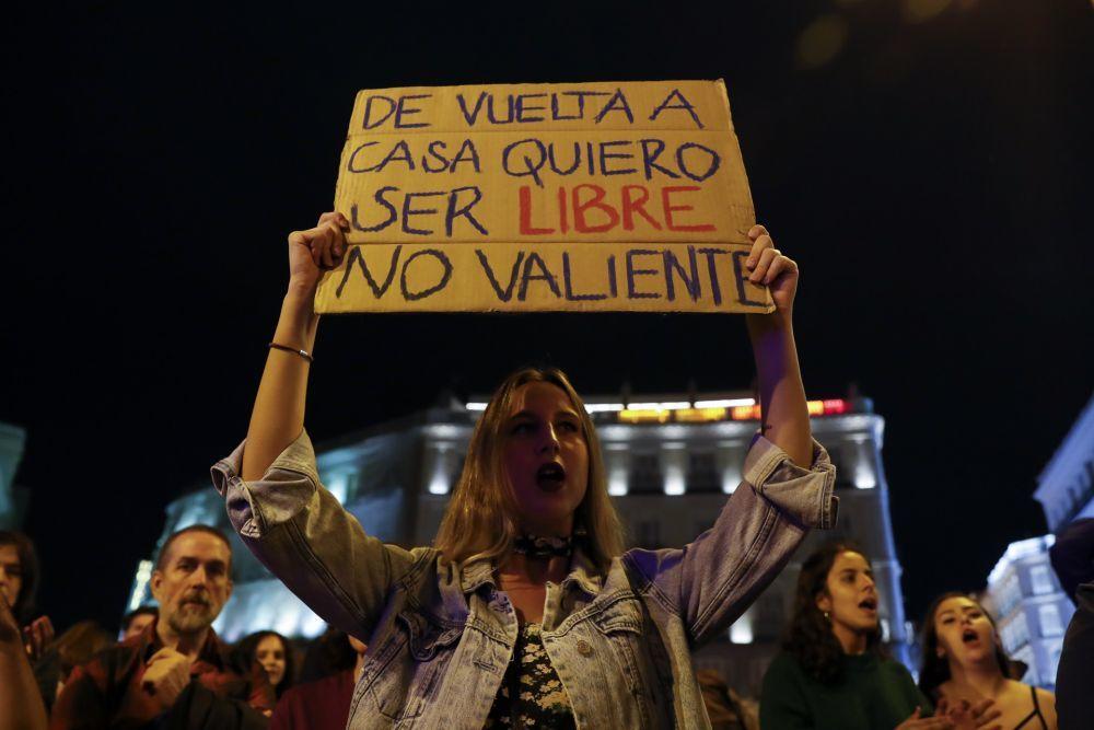 Una mujer en la manifestación contra la violencia machista del 20 de septiembre de 2019.