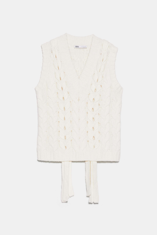 Chaleco trenzado de lana con ochos de Zara (29,95¤)