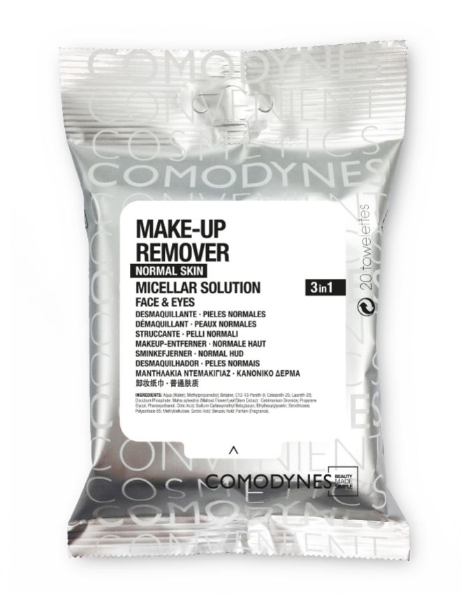 Toallitas Make-Up Remover Micellar Solution Normal Skin, de Comodynes (4 euros).