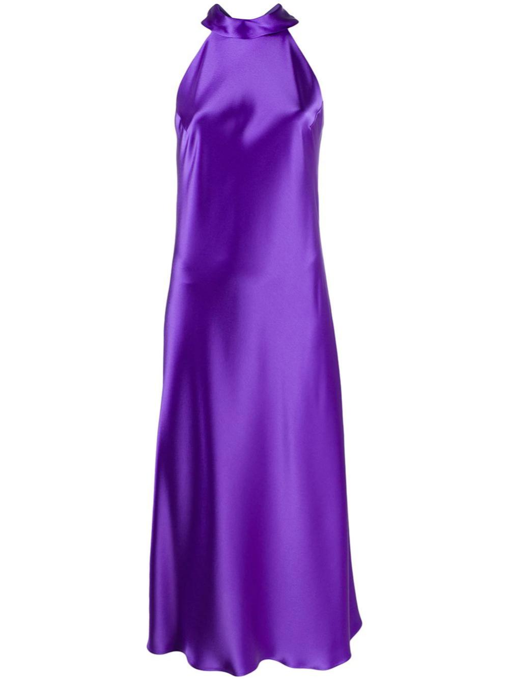 Vestido de seda con cuello halter de Galvan (c.p.v)