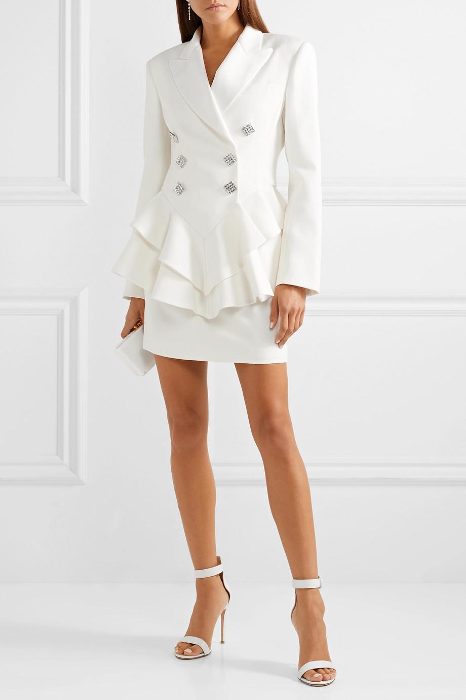 Chaqueta con volantes y falda mini, de Alessandra Rich.