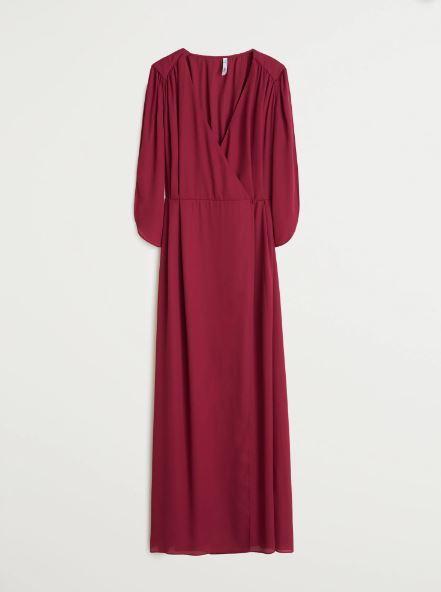 Vestido largo cruzado color frambuesa, Mango.