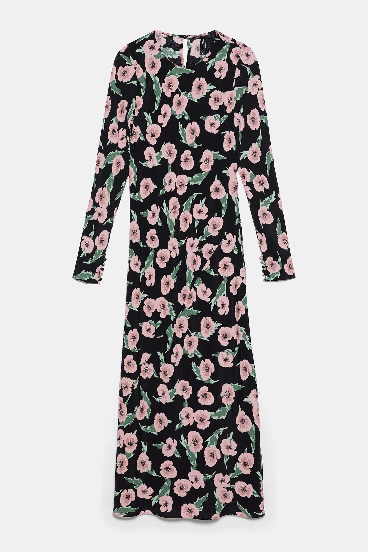 Vestido con estampado de flores, ZARA.
