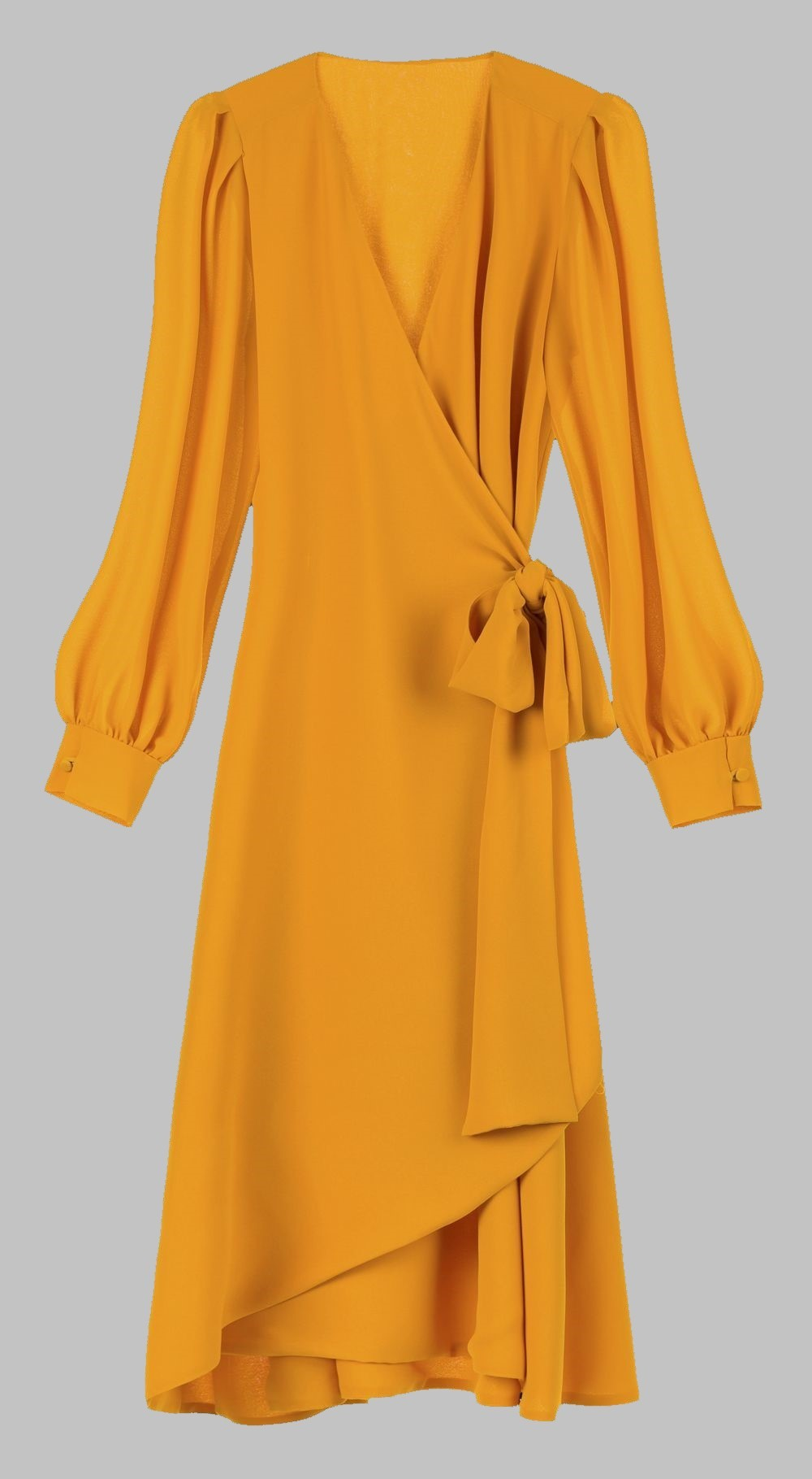 Vestido cruzado amarillo, Bimani.