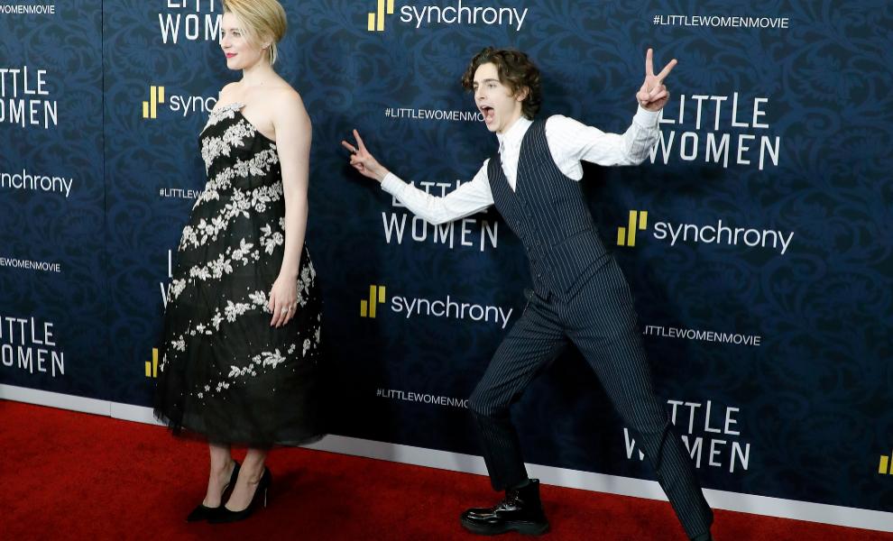 Timothée Chalamet y Greta Gerwig en el estreno de Mujercitas