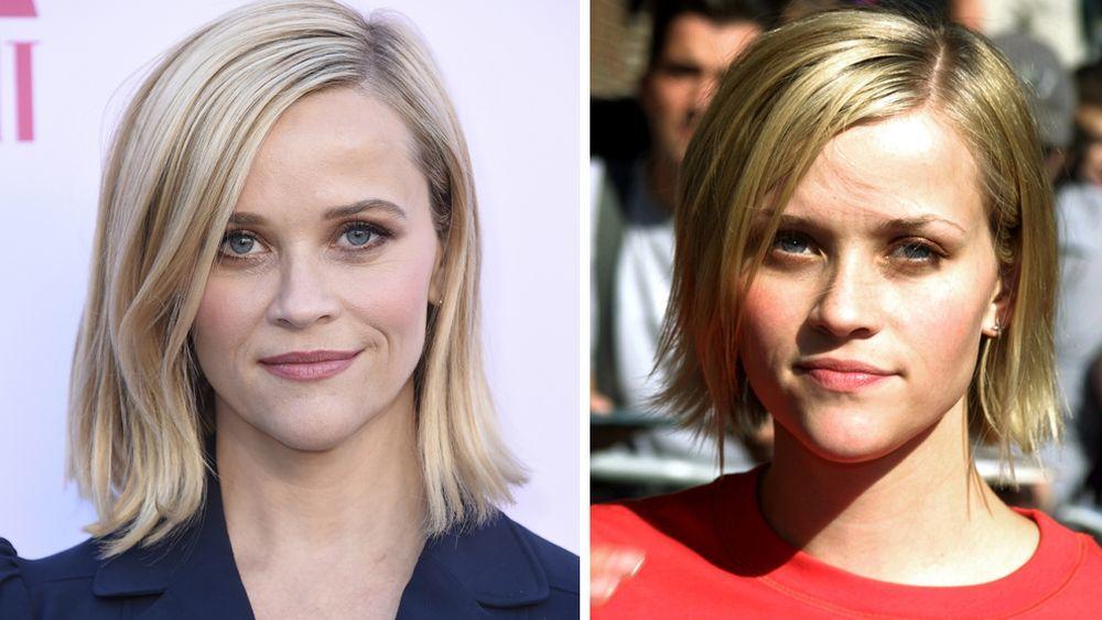 Reese Witherspoon en Los Ángeles en una foto reciente a la izquierda, y a la derecha en Nueva York en 2001.