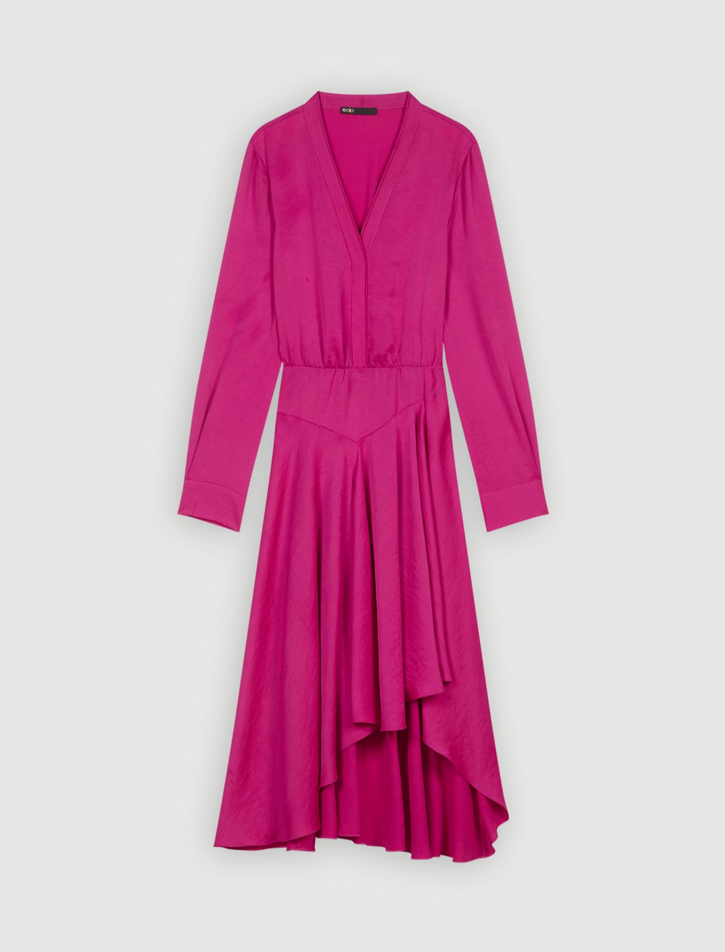 Vestido satinado en color rosa fucsia de Maje (137,50¤)