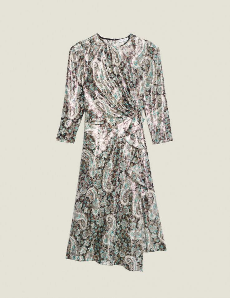 Vestido de lúrex estampado con falda asimétrica de Sandro (199,50¤)