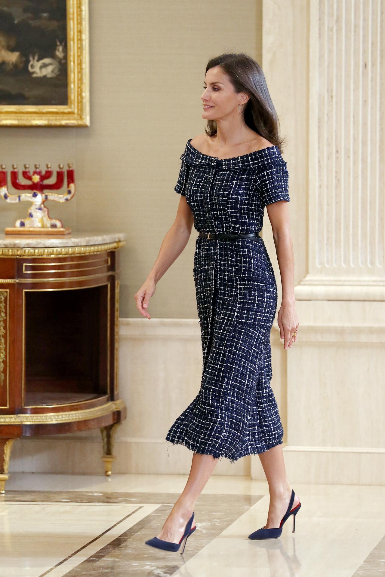 La reina Letizia durante unas audiencias celebradas en el Palacio...