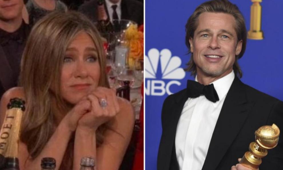 Jennifer Aniston y Brad Pitt durante los Globos de Oro 2020.