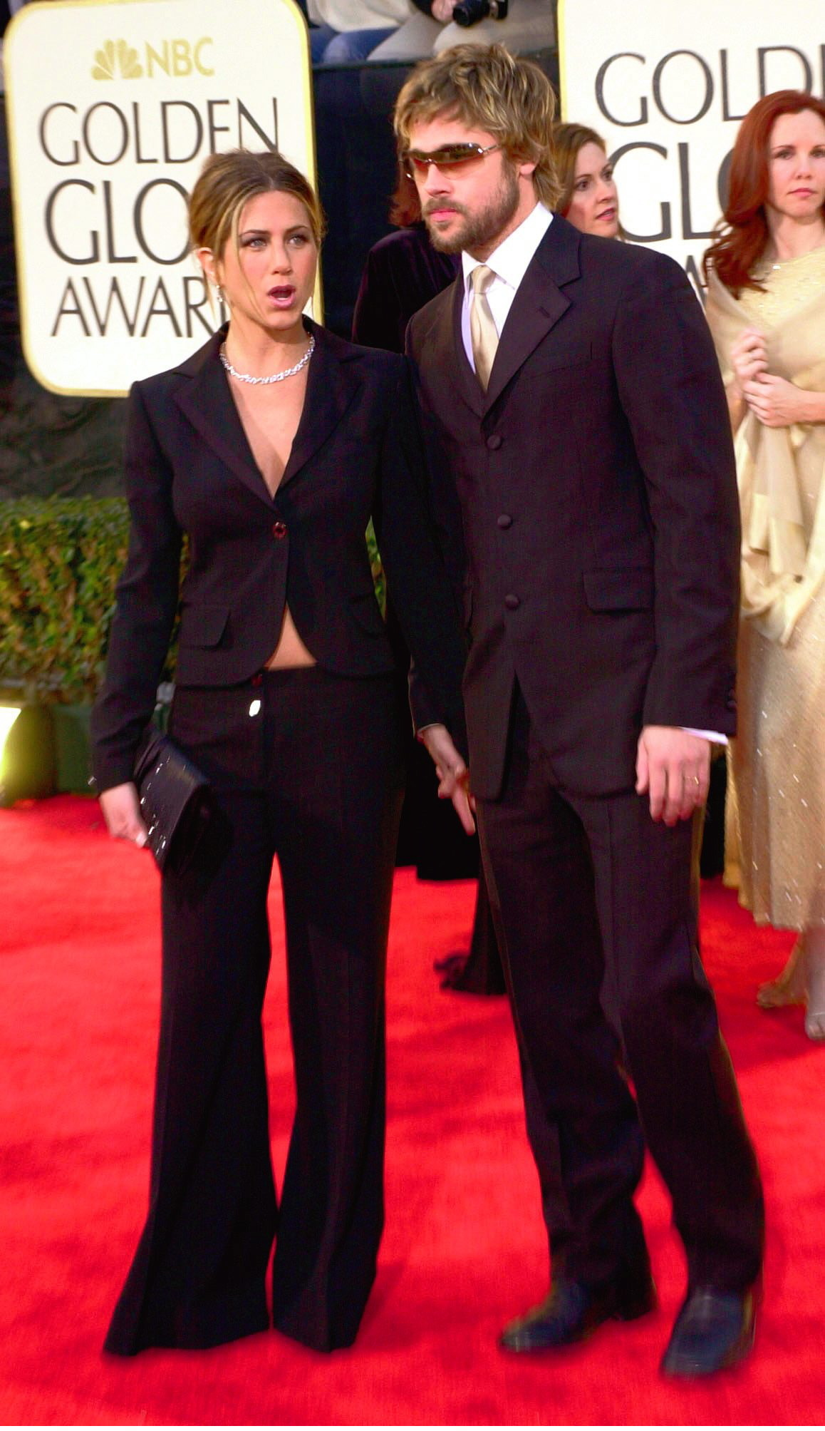 Jennifer Aniston y Brad Pitt durante los Globos de Oro de 2002.