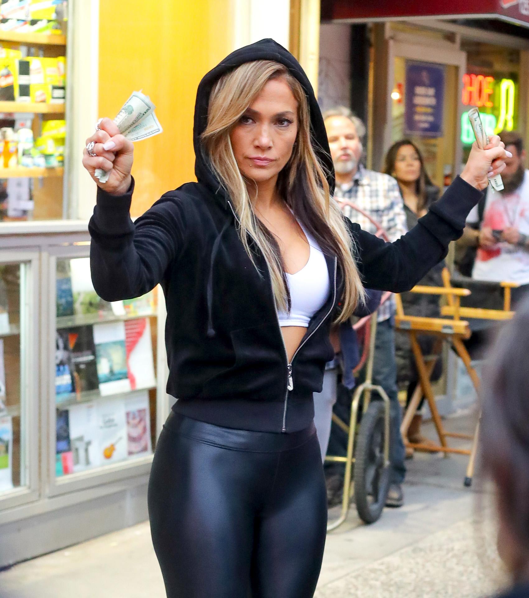 La actriz durante el rodaje de Estafadoras de Wall Street