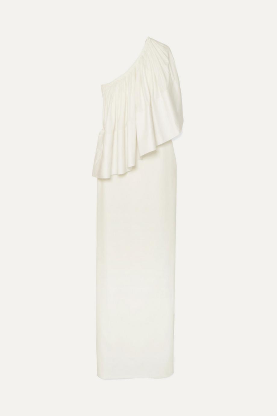 Vestido con escote asimétrico con volante de Solace London (305,33¤)