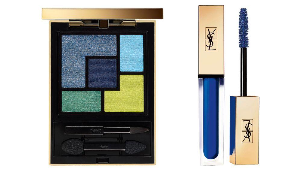 Paleta de sombras YSL Couture Palette Majorelle (58,50 euros); Máscara de pestañas Vinyl Couture Bleu (36,50 euros), todo de Yves Saint Laurent Beauté.
