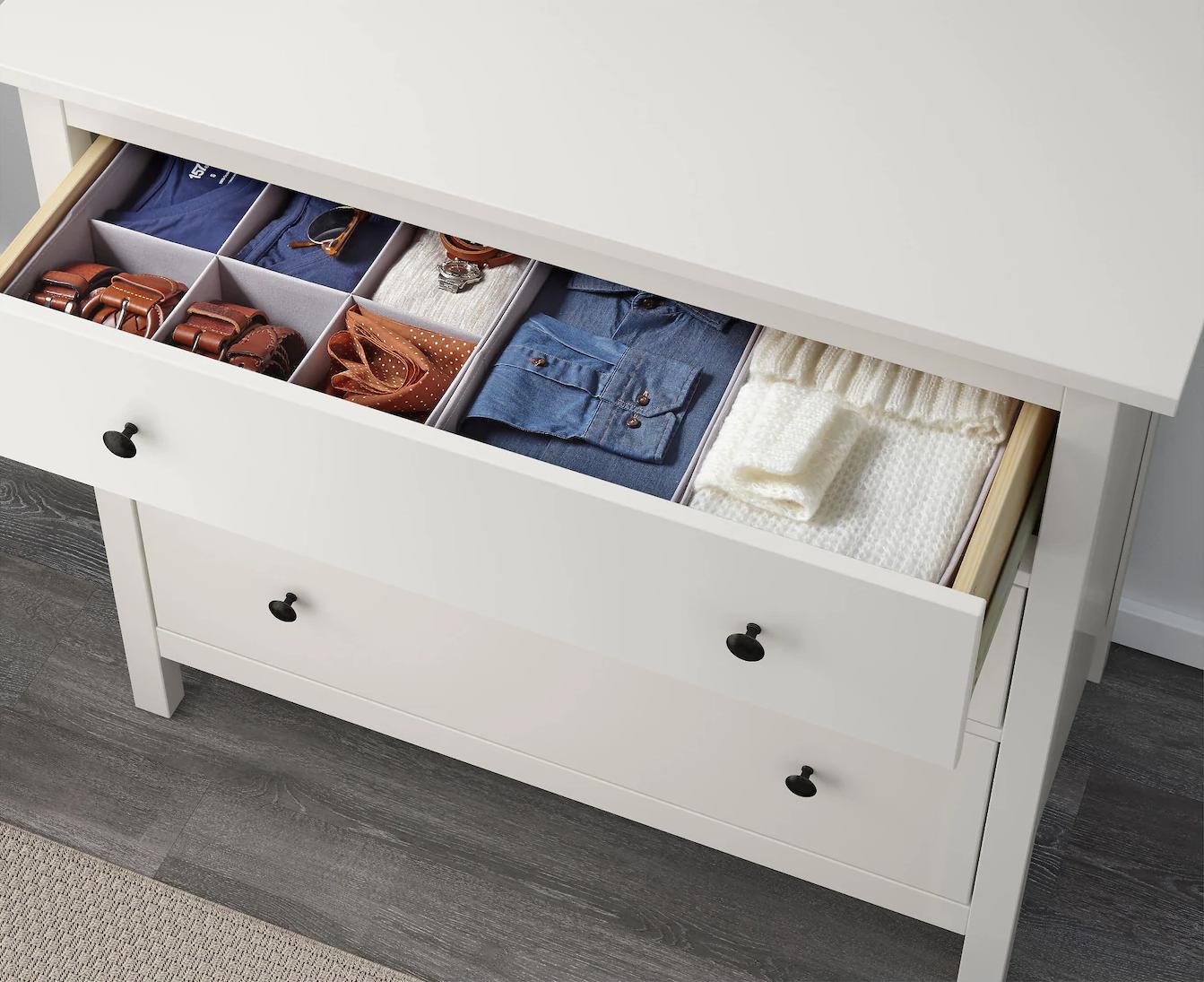 Organizadores para cajones. De Ikea.